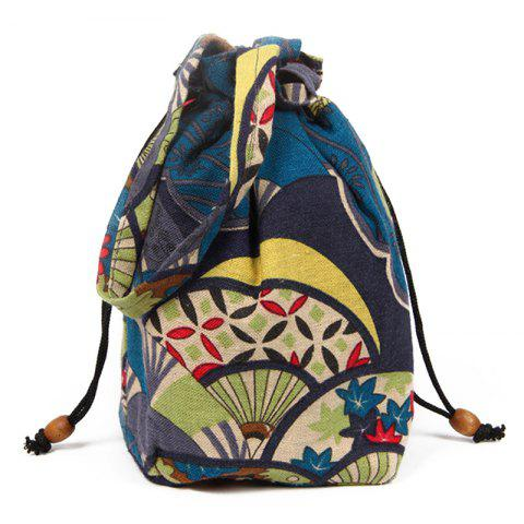 Drawstring Tribal Print Crossbody Bag - Blue