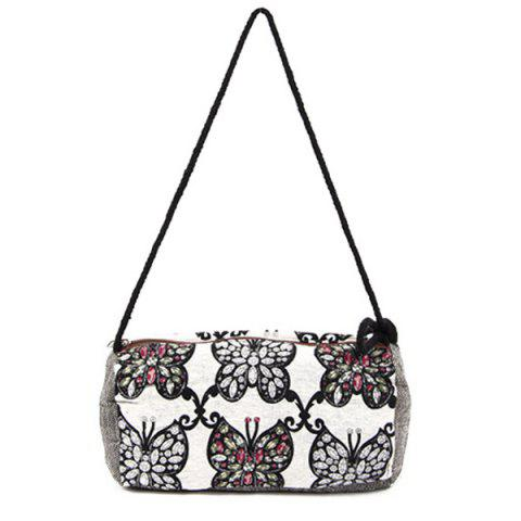 Store Tribal Print Linen Crossbody Bag - WHITE  Mobile