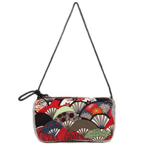 Fashion Tribal Print Linen Crossbody Bag - RED  Mobile