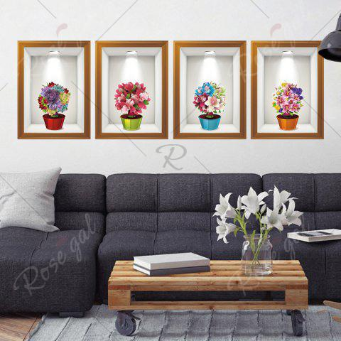 Online Photo Frame Flower Art 4Pcs/Set Wall Sticker - 60*90CM COLORMIX Mobile
