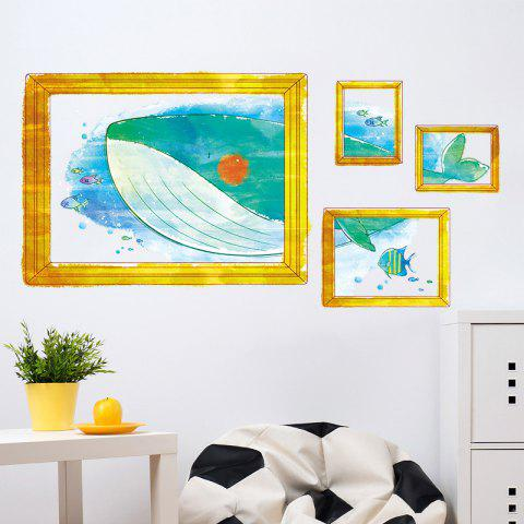 Chic Cartoon Whale Photo Frame Kids Room Wall Sticker - 50*70CM COLORMIX Mobile