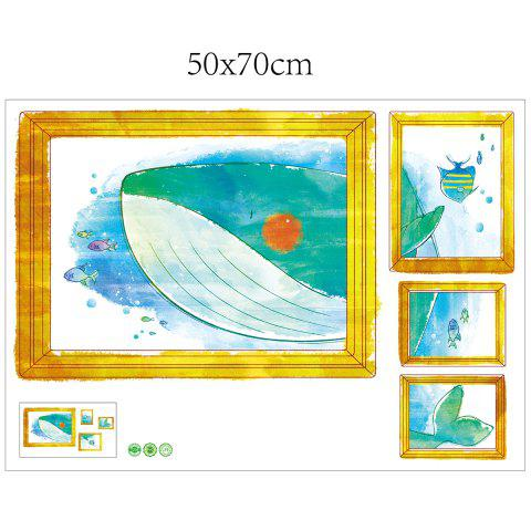 Best Cartoon Whale Photo Frame Kids Room Wall Sticker - 50*70CM COLORMIX Mobile