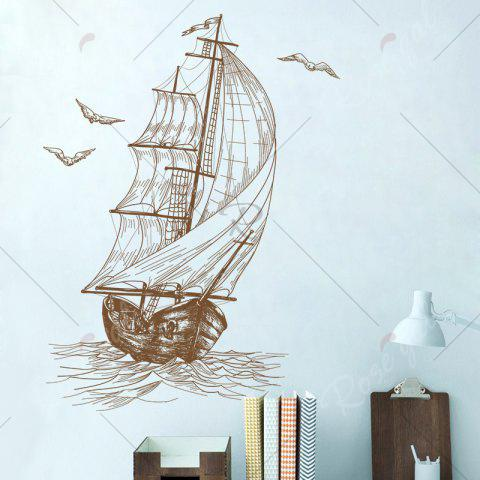 Outfit Sketch Sail Boat Vinyl Decorative Wall Sticker - 40*60CM DUN Mobile
