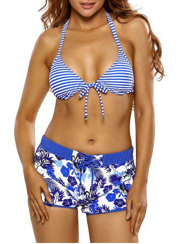 Halter Striped Floral Boyshorts Bikini Set - Blue - 2xl