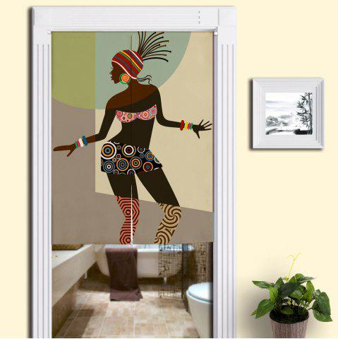 Outfit Indian Beauty Print Bathroom Door Curtain - W33.5 INCH * L35.5 INCH COLORMIX Mobile