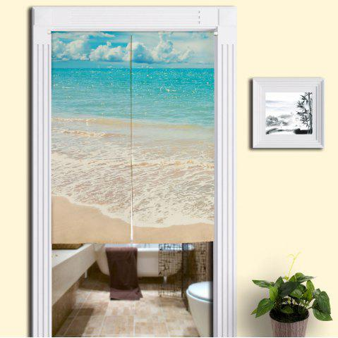 New Practical Bathroom Beach Style Door Curtain - W33.5 INCH * L35.5 INCH BLUE Mobile