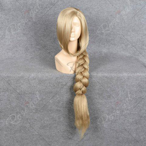 Unique Ultra Long Side Part Braided Straight Tangled Rapunzel Cosplay Wig - GOLDEN YELLOW  Mobile