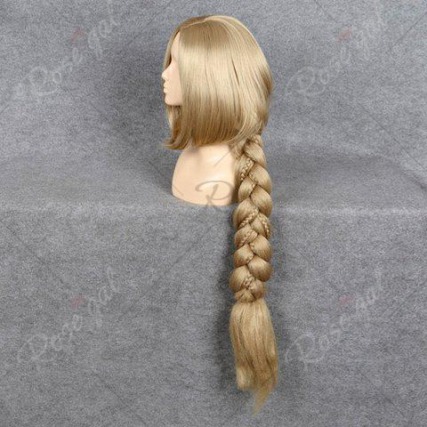 Cheap Ultra Long Side Part Braided Straight Tangled Rapunzel Cosplay Wig - GOLDEN YELLOW  Mobile