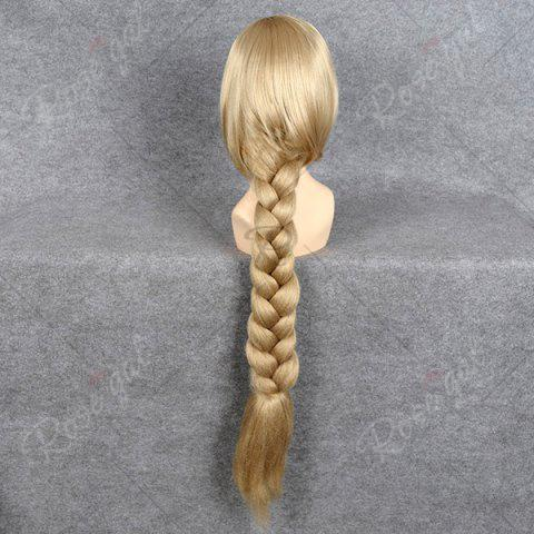 Affordable Ultra Long Side Part Braided Straight Tangled Rapunzel Cosplay Wig - GOLDEN YELLOW  Mobile