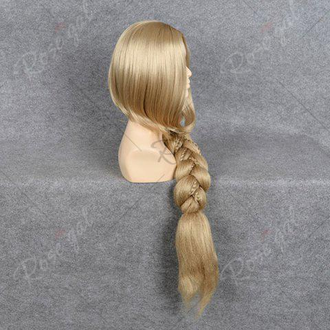 Best Ultra Long Side Part Braided Straight Tangled Rapunzel Cosplay Wig - GOLDEN YELLOW  Mobile