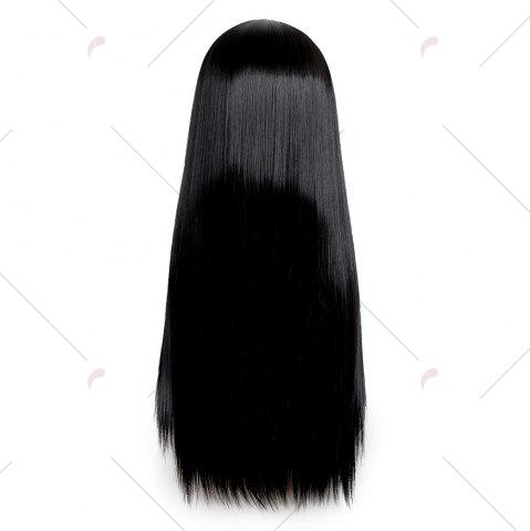Trendy Long Middle Part Glossy Straight Cosplay Synthetic Wig - BLACK  Mobile