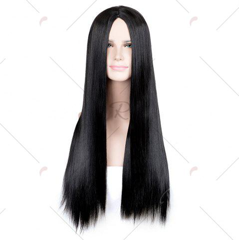 Cheap Long Middle Part Glossy Straight Cosplay Synthetic Wig - BLACK  Mobile