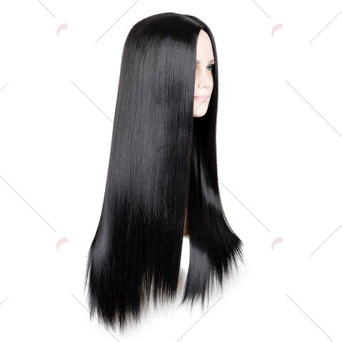 Affordable Long Middle Part Glossy Straight Cosplay Synthetic Wig - BLACK  Mobile