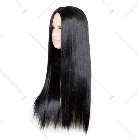 Fancy Long Middle Part Glossy Straight Cosplay Synthetic Wig - BLACK  Mobile