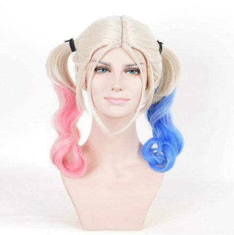 Long Middle Part Bunches perruque courbée Harley Quinn Cosplay Synthetic Multicolore