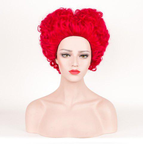 Short Fluffy Curly Alice in Wonderland Red Queen Cosplay Synthetic Wig - Red - L
