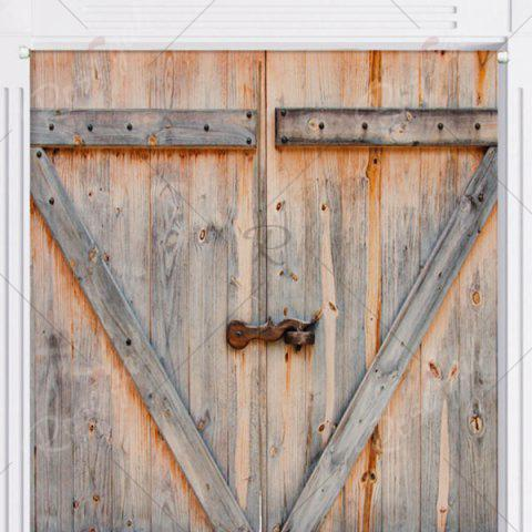 Best Rustic Country Wooden Door Printed Door Curtain - W33.5 INCH * L35.5 INCH PAPAYAWHIP Mobile