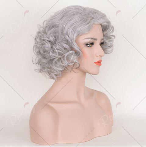 Buy Short Side Bang Fluffy Curly Tyler Perry Cosplay Synthetic Wig - SMOKY GRAY  Mobile