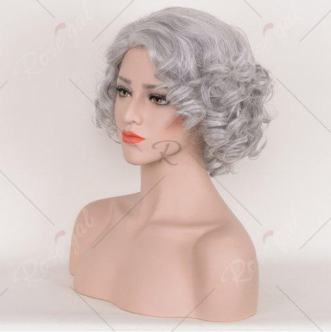 Unique Short Side Bang Fluffy Curly Tyler Perry Cosplay Synthetic Wig - SMOKY GRAY  Mobile