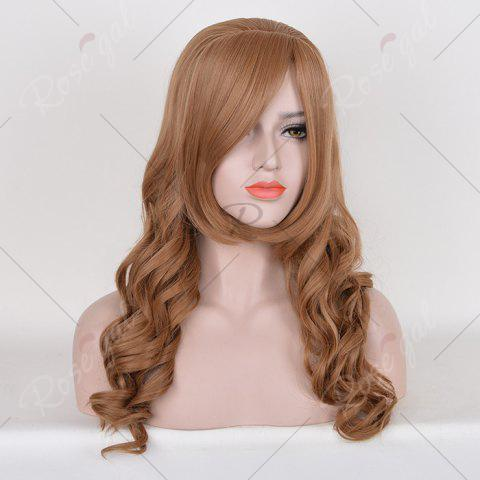 Discount Long Free Part Cosplay Curly Synthetic Wig - BROWN  Mobile