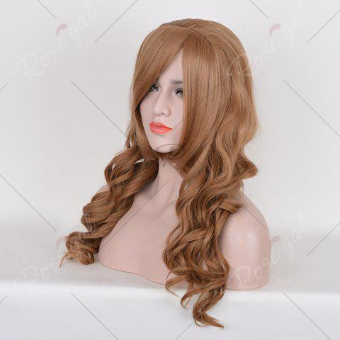 Buy Long Free Part Cosplay Curly Synthetic Wig - BROWN  Mobile
