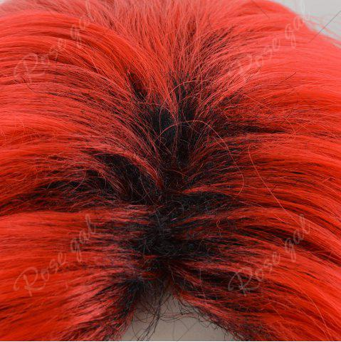 Chic Short Center Part Colormix Shaggy Curly Cosplay Synthetic Wig - RED  Mobile