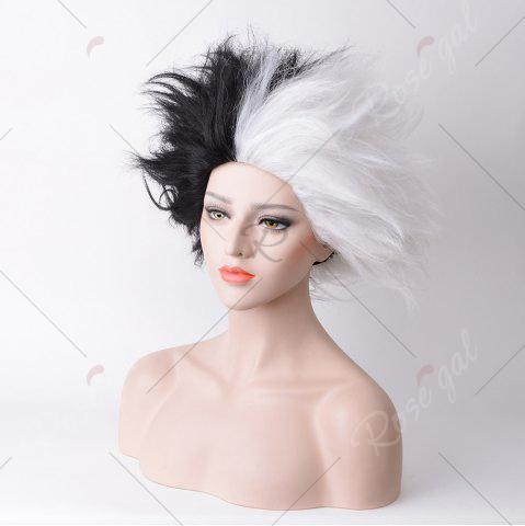 Latest Short Shaggy Straight Two Tone Cruella Deville Cosplay Synthetic Wig - WHITE AND BLACK  Mobile