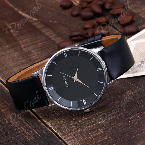Affordable Minimalist Faux Leather Strap Couple Watches - BLACK  Mobile