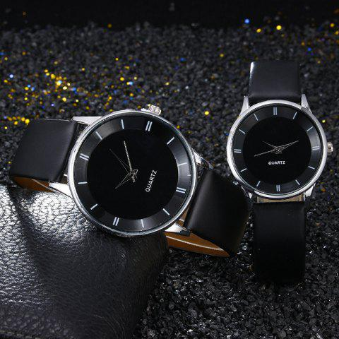 Buy Minimalist Faux Leather Strap Couple Watches - BLACK  Mobile