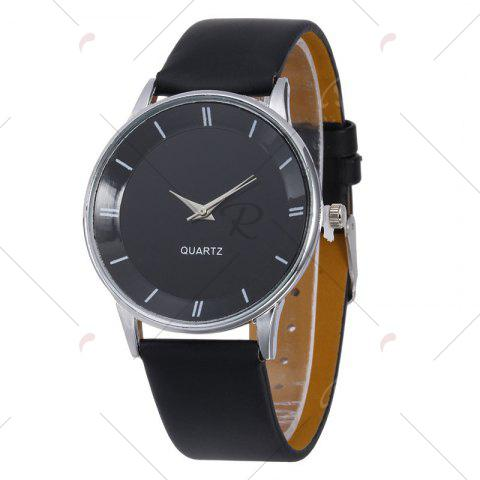 Latest Minimalist Faux Leather Strap Couple Watches - BLACK  Mobile