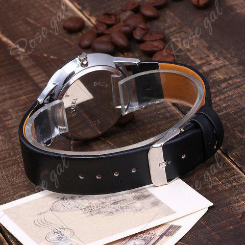 New Minimalist Faux Leather Strap Couple Watches - BLACK  Mobile