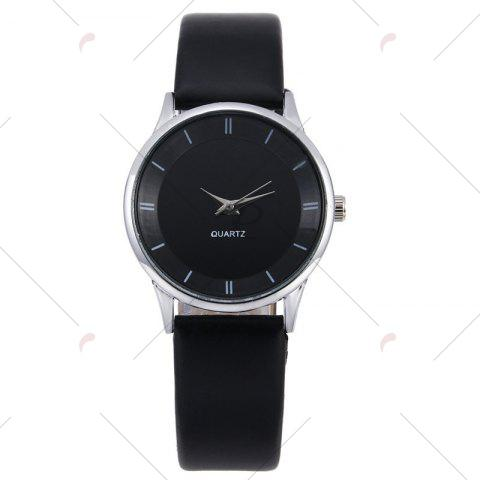 Outfit Minimalist Faux Leather Strap Couple Watches - BLACK  Mobile
