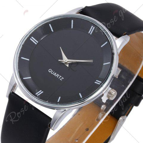Trendy Minimalist Faux Leather Strap Couple Watches - BLACK  Mobile