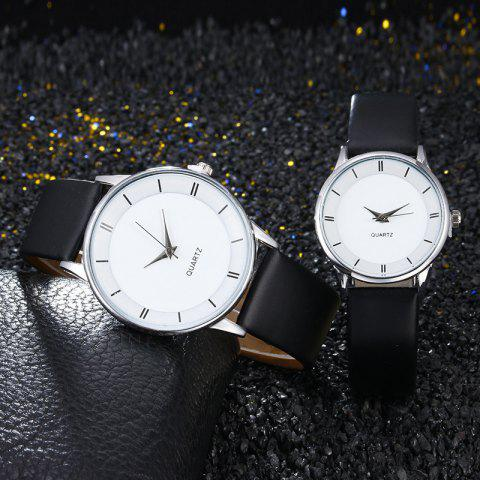 Outfit Minimalist Faux Leather Strap Couple Watches SILVER