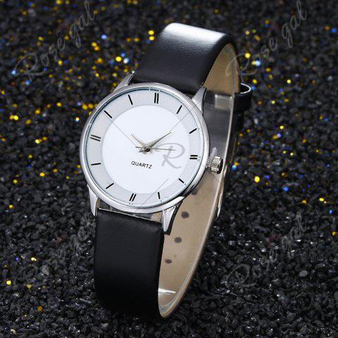 Trendy Minimalist Faux Leather Strap Couple Watches - SILVER  Mobile