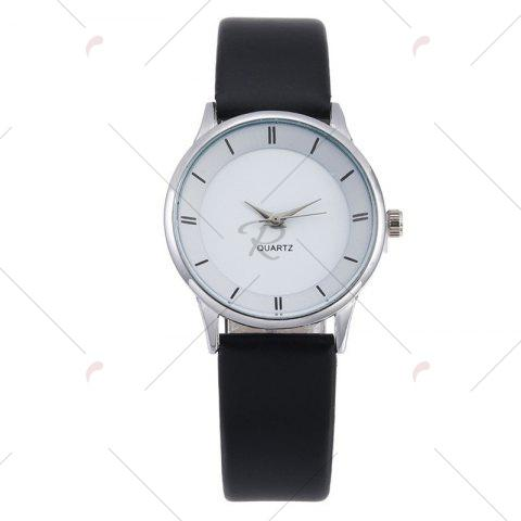 Latest Minimalist Faux Leather Strap Couple Watches - SILVER  Mobile