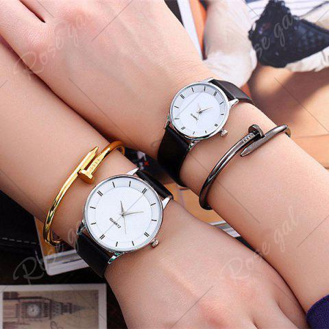 Chic Minimalist Faux Leather Strap Couple Watches - SILVER  Mobile