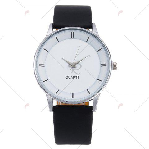 Affordable Minimalist Faux Leather Strap Couple Watches - SILVER  Mobile