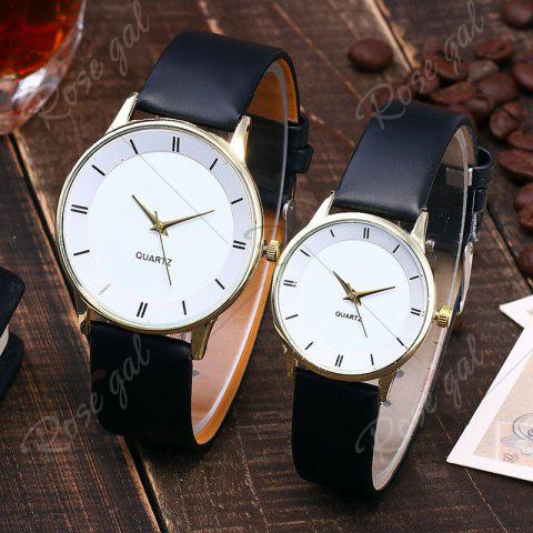 Latest Minimalist Faux Leather Strap Couple Watches - WHITE + GOLD  Mobile