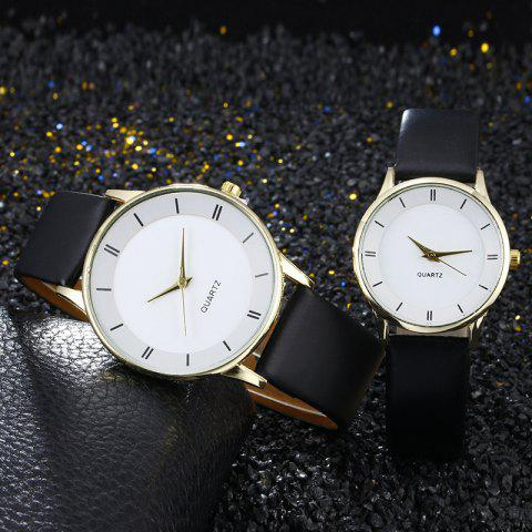 Minimalist Faux Leather Strap Couple Watches Blanc + Or