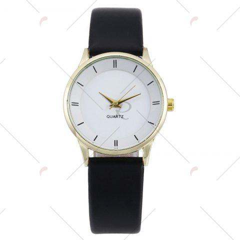 New Minimalist Faux Leather Strap Couple Watches - WHITE + GOLD  Mobile