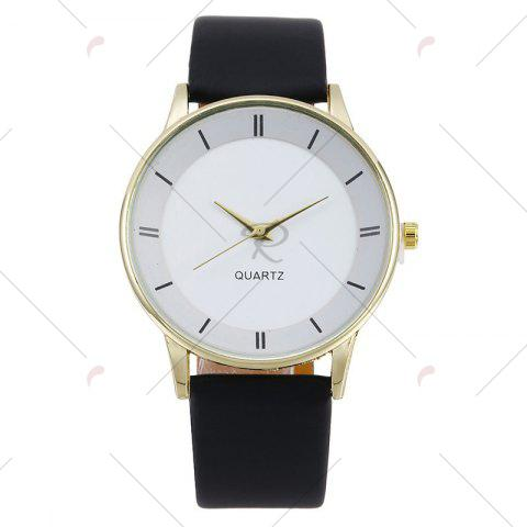 Affordable Minimalist Faux Leather Strap Couple Watches - WHITE + GOLD  Mobile