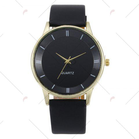 Affordable Minimalist Faux Leather Strap Couple Watches - BLACK GOLD  Mobile