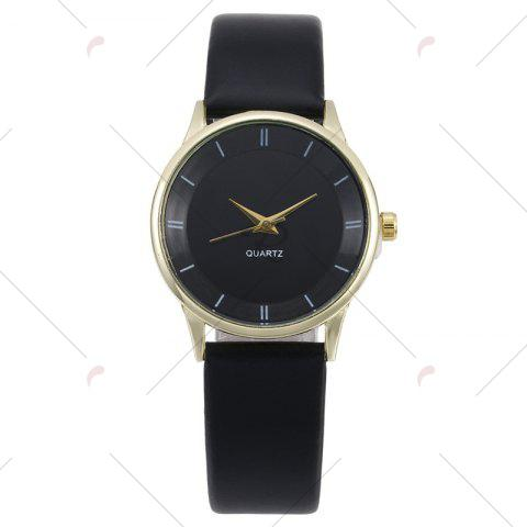 New Minimalist Faux Leather Strap Couple Watches - BLACK GOLD  Mobile