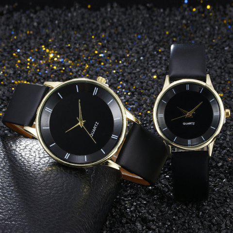 Latest Minimalist Faux Leather Strap Couple Watches BLACK GOLD
