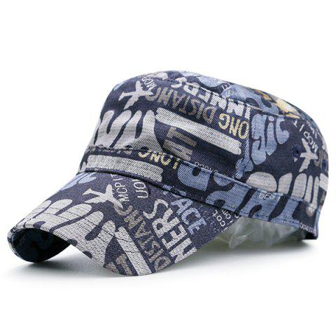 Store Flat Top Graffiti Letters Printing Military Hat - BLACK GREY  Mobile