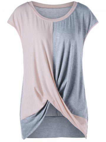 Color Block Plus Size Twist Tee - Pink + Gray - 5xl