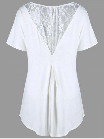 Fashion Plus Size Lace Insert High Low Tee - 3XL WHITE Mobile