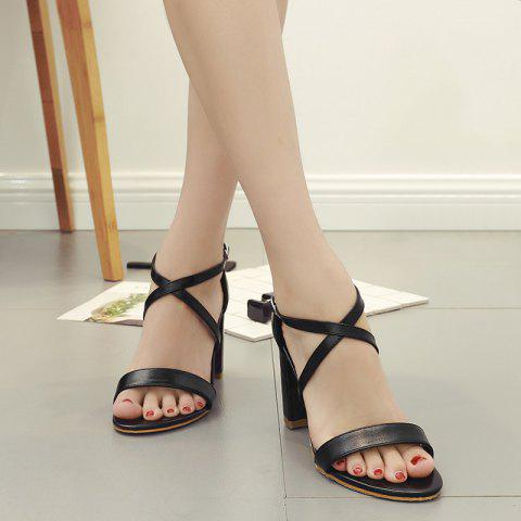 Sale Block Heel Cross Strap Faux Leather Sandals
