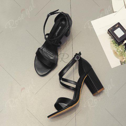 Latest Block Heel Cross Strap Faux Leather Sandals - 37 BLACK Mobile